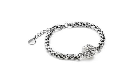 Stainless Steel Colored Crystal-encrusted Sphere Bracelet 7a63741b-eb17-4069-af91-c1401ad103c7