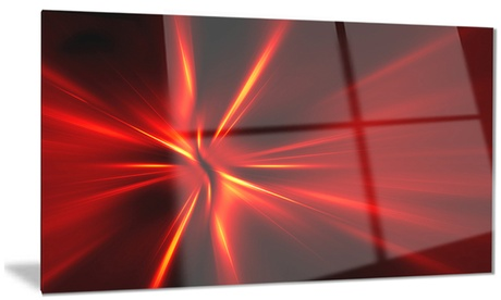 Red and Yellow Rays Abstract Digital Art Metal Wall Art 28x12 e8f39ebc-f04b-4415-9aee-a23210ad9a80