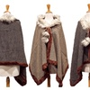 Reversible Faux Fur Trimmed Cloak Poncho Wrap
