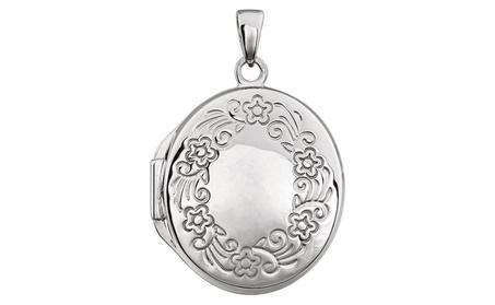 Sterling Silver Design-Engraved Oval Locket 8c770c0f-07ad-4e79-b46b-7fd311b7bffa