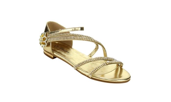 Beston IE59 Women's Rhinestone Strappy Bow Metallic Flat Dress Sandal