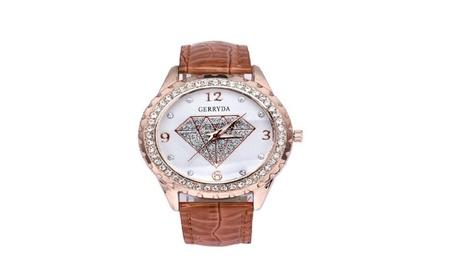 New Women Luxury Diamond Rhinestone Faux Leather Analog Watch cd414915-ba31-44c7-b845-4c565a885bc5