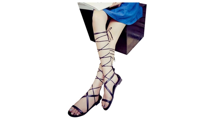 Knee Summer High Flat Open Toe Sandals Lace Up Gladiator Women ordCxBe