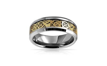 Bling Jewelry Tungsten Celtic Dragon Gold Plated Inlay Wedding Ring 0bde893b-5605-44a9-9ac6-8b6b9b8053a2