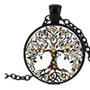 Fashion Style Life Tree Time Gem Glass Pendant Necklace