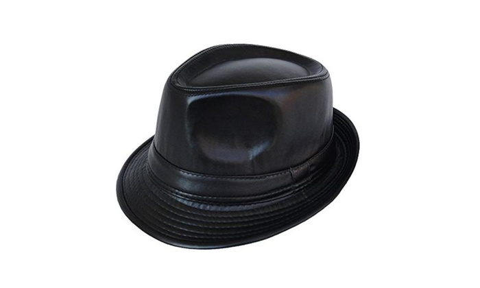 Summerwhisper Women's Men's Leather Fedora Trilby Hat Cap Unisex - Black / One Size