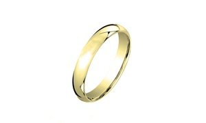 14K Gold Plated Comfort-Fit 3mm Italian Wedding Band