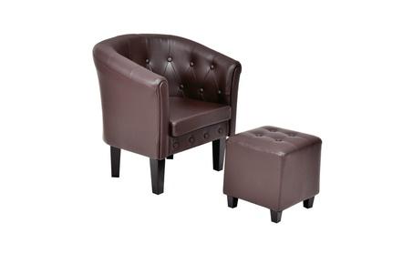 Accent ArmChair Tub Barrel Club Seat Tufted w/ Cushion Ottoman 7cab1c18-2a0a-4e9b-aa06-49e2d9062f23
