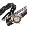 Wrap Around Faux Leather Bling Watch Round Dial Braided Band