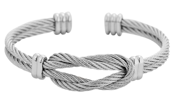 6d6a8c52c3e Mens Stainless Steel Twisted Cable Wire Bracelet | Groupon