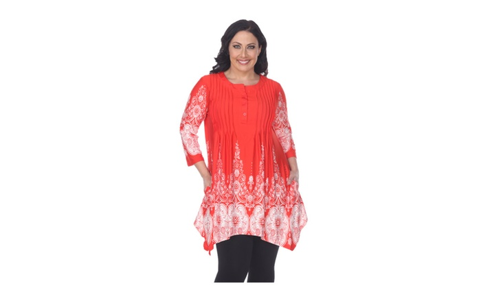 724240c5404 Plus Size  Dulce  Tunic Top Red White