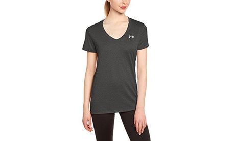 Under Armour Womens Tech V-Neck - M - Carbon Heather/Metallic Silver 2c022477-87be-4344-811b-64324320d136