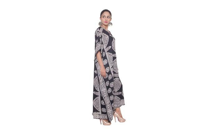 Goood Times Caftan Dress, Black Beautiful Caftan, Plus Size  - Paisley Print Black
