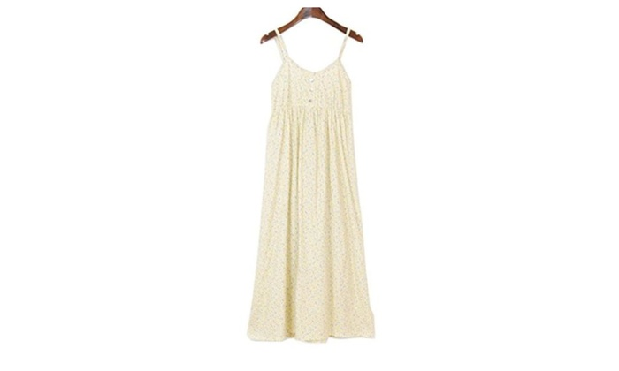 Soyoo Women's Cotton Strap Long Dress Floral – Navy / 10
