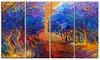 Blue Autumn Forest Landscape Metal Wall Art 48x28 4 Panels