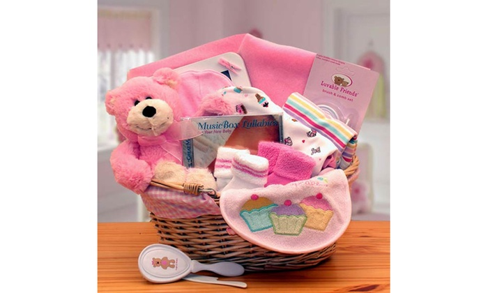Gift Basket Dropshipping Simply The Baby Basics New Baby Gift Basket -Pink