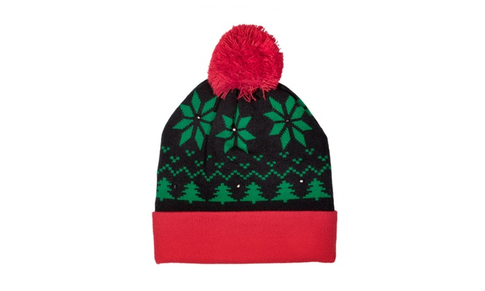 LED Light-up Knitted Ugly Sweater Holiday Xmas Christmas Beanie Hat ... b3f80661a339