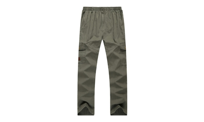 Men's Cotton Drawstring Elastic Waist Big and Tall Pockets Cargo Pant
