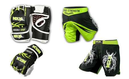 Green Gym Gloves Shorts UFC Cage Grappling Kickboxing Fight Gear Set