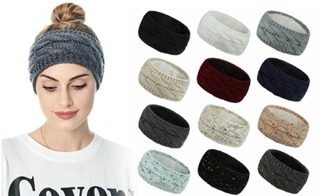 Ear Warmer Headband Women Winter Cable Knit Headband Twist Fuzzy Fleece