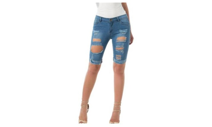 Women's Denim Destroyed Mid Rise Stretchy Shorts Jeans
