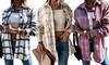 Womens Loose Casual Retro Plaid Long-sleeved Shirt Jacket