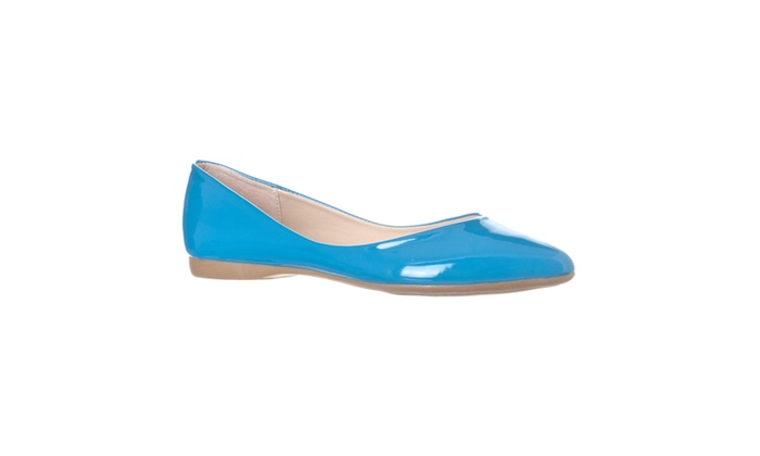 Riverberry 'Ella' Pointed Toe Ballet Flat Slip On, Blue Patent