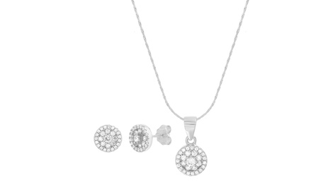 Sterling Silver CZ Round Pendant & Post Earring Set 978fc2a1-1bbd-4199-99f0-1fa04fccf255
