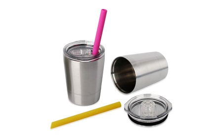 Housavvy Stainless Steel Kids Mugs with Lids and Straws Set of 2 4ef52ad7-f741-426c-8c39-f467e85cae34