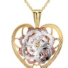 18K Gold Plated Metallic Floral Heart Shaped Necklace