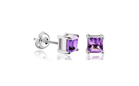 Sterling Silver Princess-Cut Gemstone Stud Earrings 93e3c6b4-b03e-4d25-a6e0-cbe1f3bd491e