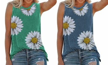 Women Daisy Printed Shirt Sleeveless T-Shirt Tops Tank Blouse