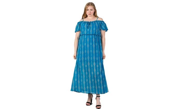 Ladies fashion plus size blue cold shoulder maxi dress