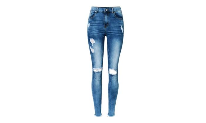 Linda Sexy Hole Jeans for Women Boyfriend Stylish Rock Roll Pants
