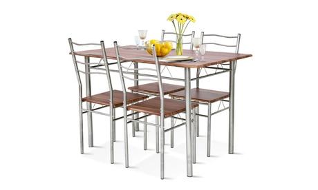 5 Piece Dining Table Set Wood Metal Kitchen Breakfast Furniture