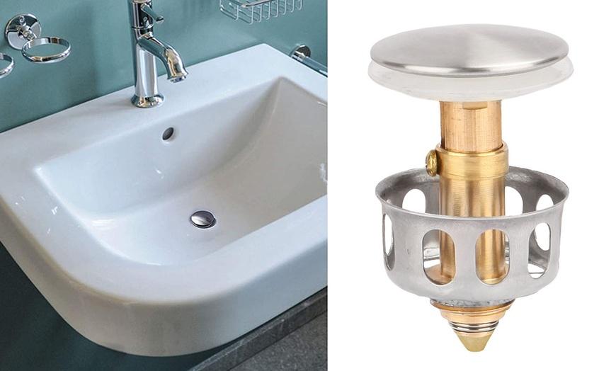 2Pcs Universal Wash Basin Bounce Drain Filter Pop Up Sink Drain Plug Bathroom