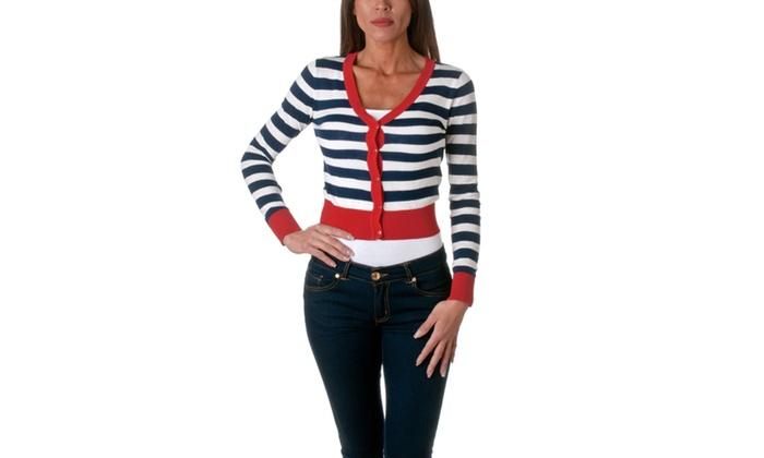 Active Basic Striped V Neck Cardigan Sweater SW9804