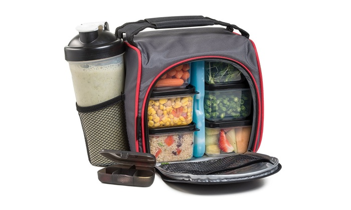 29a2ecbbddb9 Meal Prep Lunch Bag with 6 Portion Control Food Containers