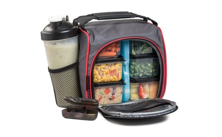 Meal Prep Lunch Bag with 6 Portion Control Food Containers 3931b265-641d-4bfe-8213-3e7748bb67c7