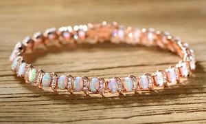 Fire Opal Wave Tennis Bracelet by Peermont