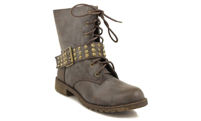 Harley-13 Brown Lace up Studded Spike Buckle Combat Boot Vegan Women's