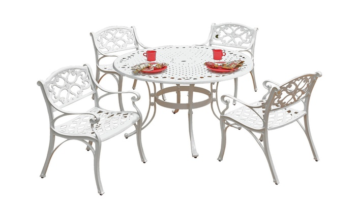 Groupon Goods: Biscayne 5PC Set 42 Inch Round Outdoor Dining Table White Finish
