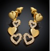 18K Gold Plated Dangling Heart Design Swarovski Elements Earrings- Two Options