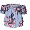 Women' s Sexy Off Shoulder Top Shirt Terylene Floral Blouse Shirt Blue