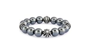 Men's Stainless Steel and Hematite Beaded Stretch Bracelet