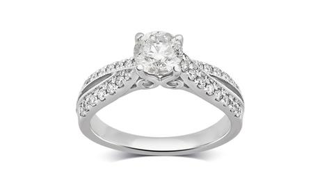 Brilliant Diamond 1 1/4 Cttw Round Diamond Engagement Ring 14K Gold Jewelry