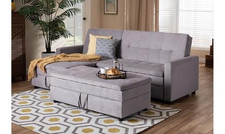Noa Fabric Left Facing Storage Sectional Sleeper Sofa with Ottoman