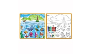 Kids' Small Coloring Play Mat with 12 Washable Markers