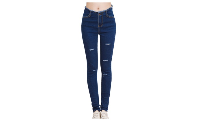 Women's Cotton Ripped Distressed Skinny Pencil Jeans