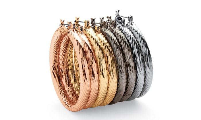 Multicolor Twisted Hoop Earrings 4 Pair Set Groupon